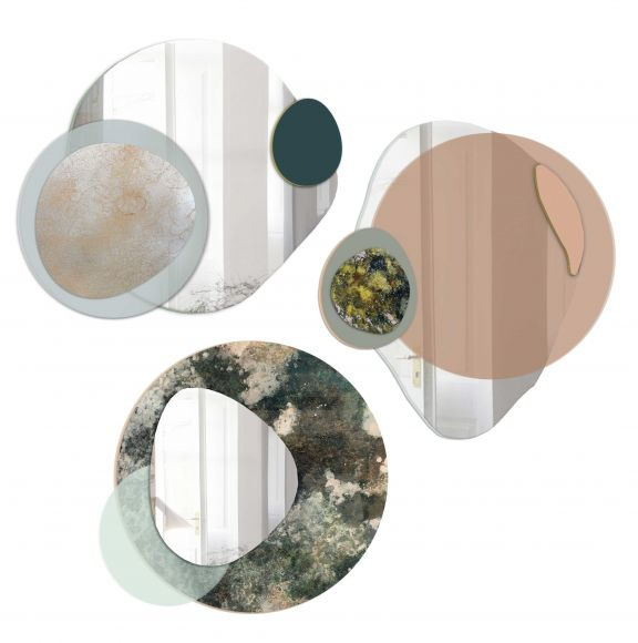 Glati hand painted glass, mirror and acrylic layered art