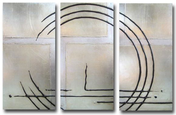 Deco Circles - Metal Leafed Canvases