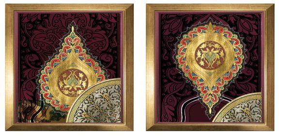 Zbouh art on metal leaf in standard frames.
