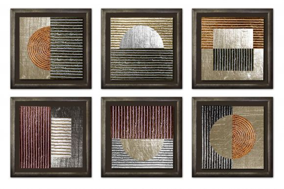Circles & Squares in delue handmade frames