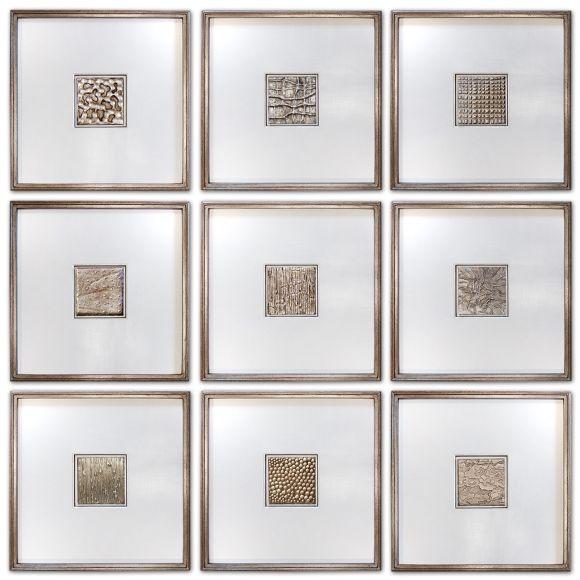 Handmade Textured Squares in  deluxe handmade frames