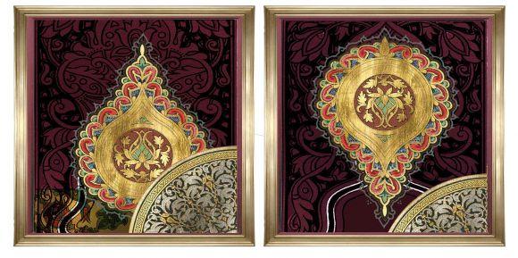 Zbouh art on metal leaf in deluxe handmade frames.