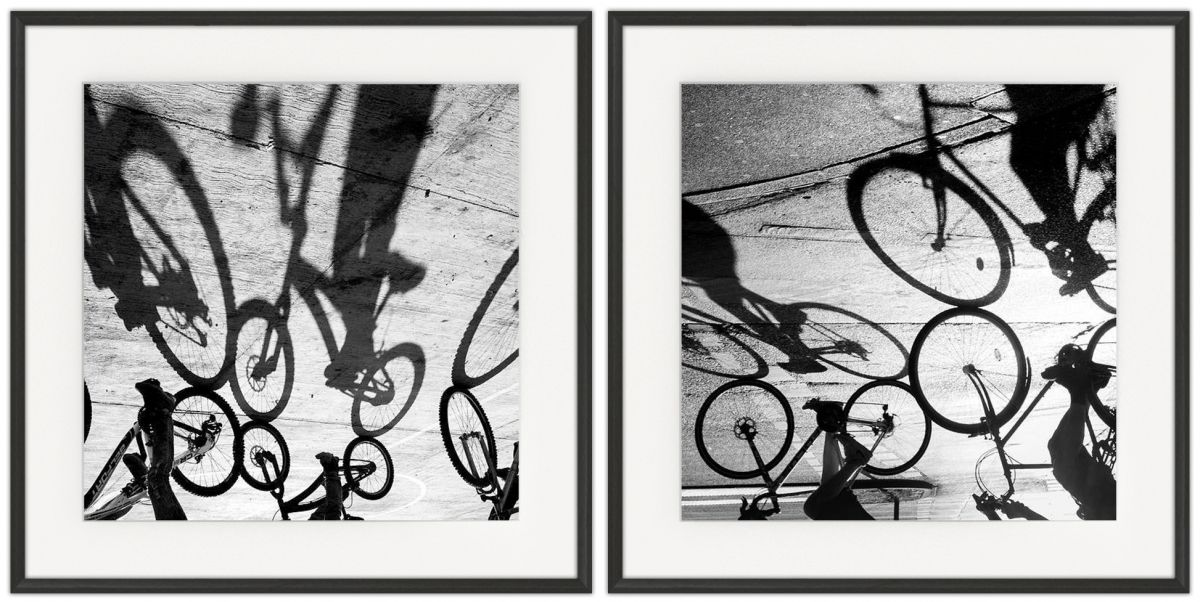 Cycling Shadows: Photographic print in a standard factory frame