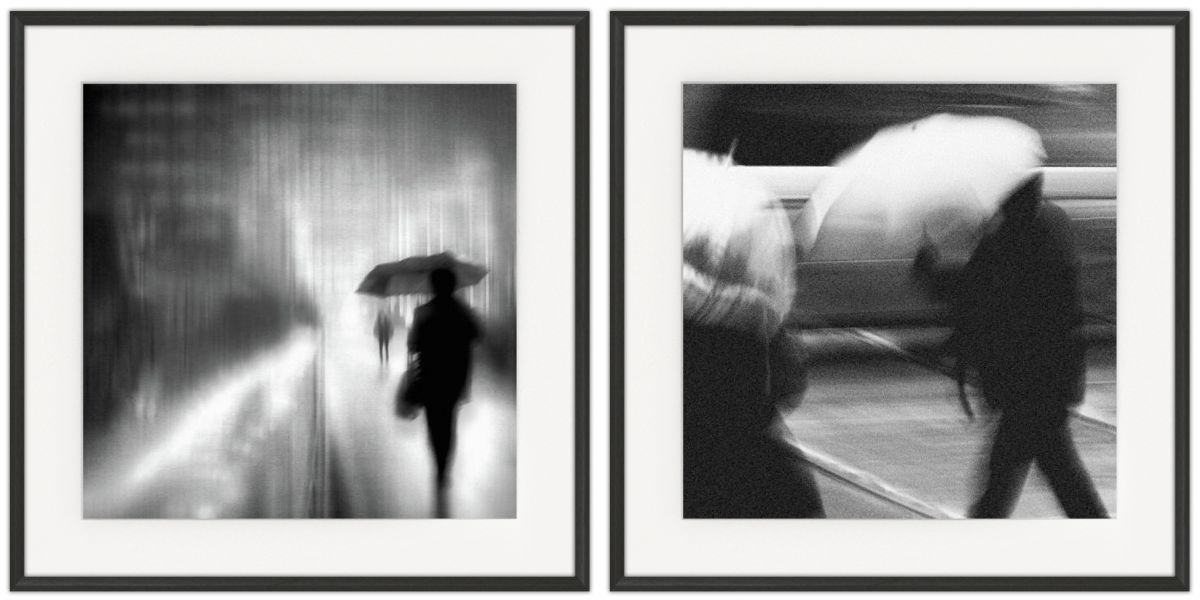 Walking in the Rain: Photographic print in a standard factory frame